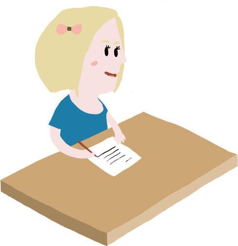 Mädchen schreibt Brief