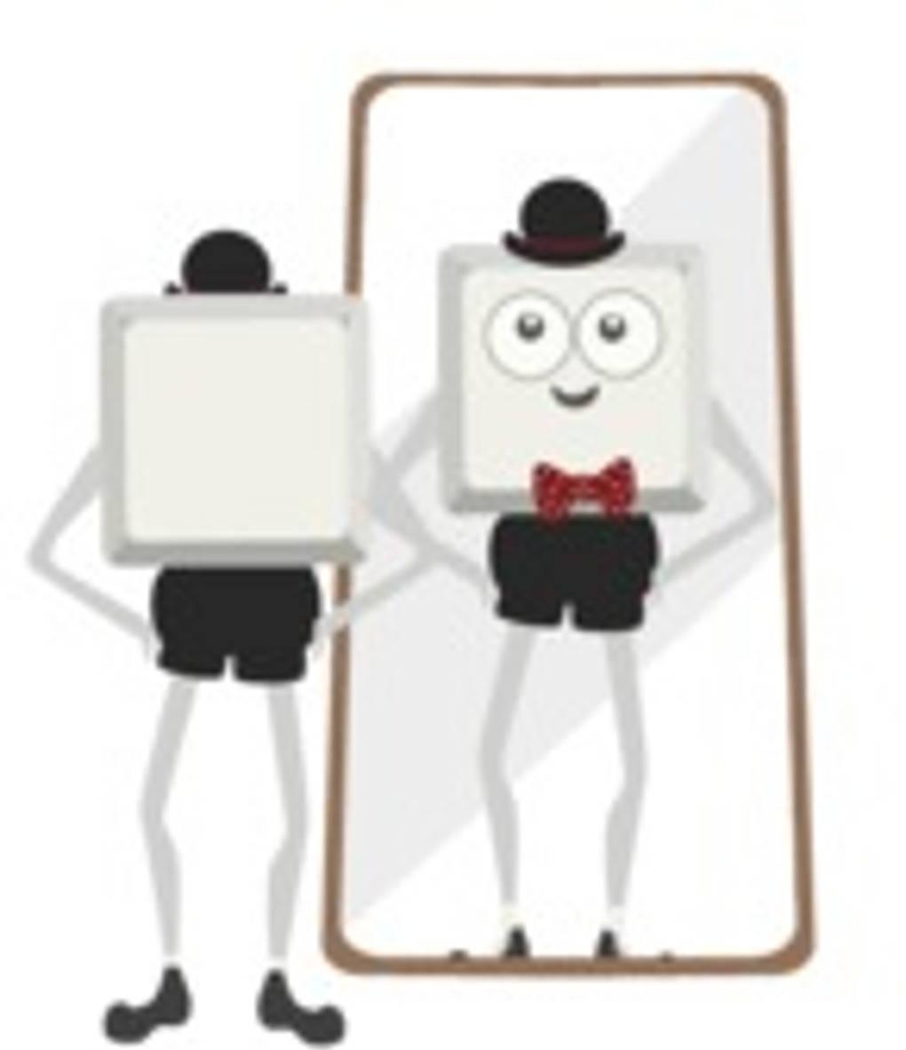 Teo vor dem Spiegel
