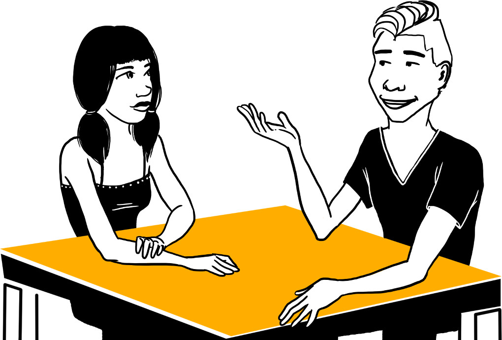 Zwei Jugendliche unterhalten sich