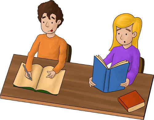 Schüler lesen und schreiben