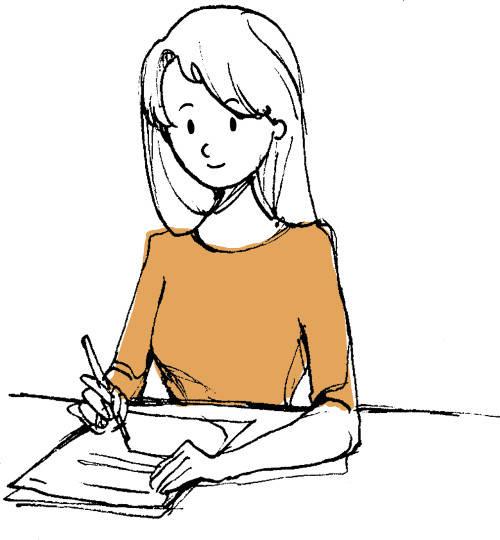 Mädchen schreibt Bewerbung