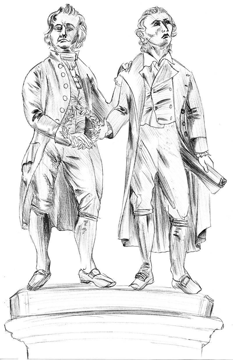 Statue von Goethe und Schiller