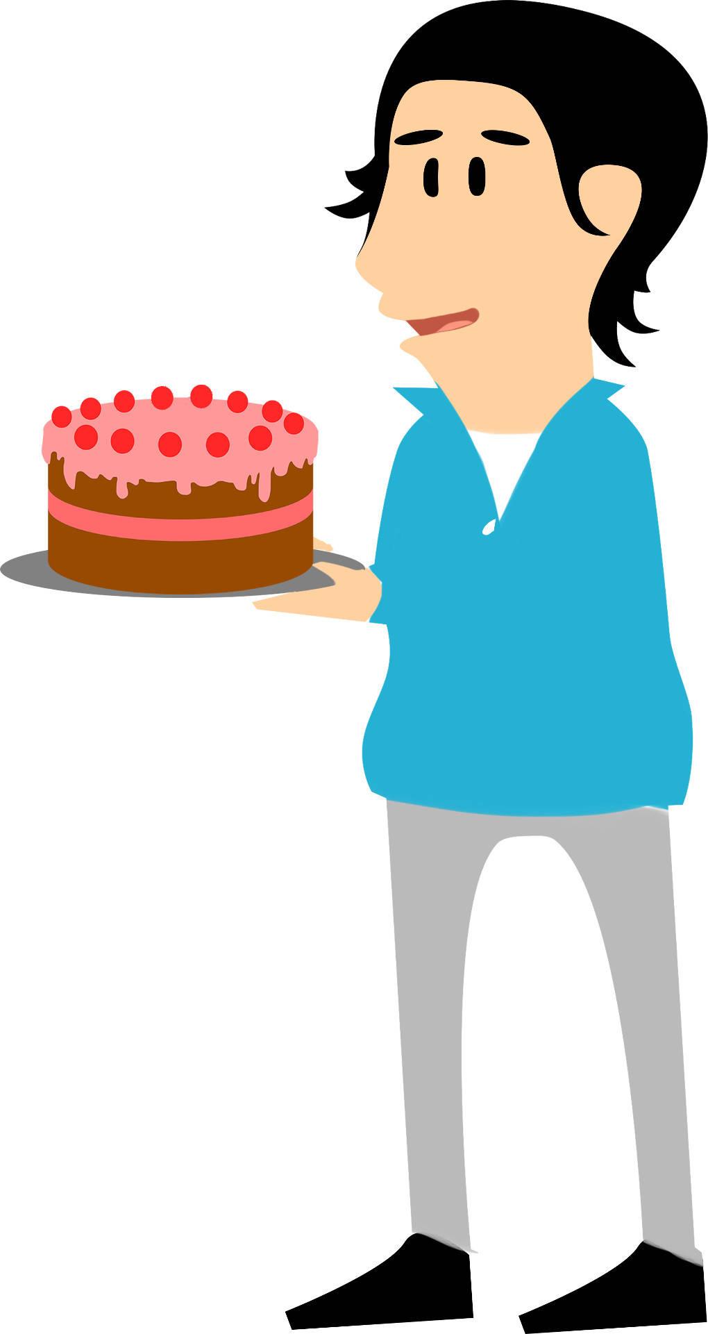 Charles bringt einen Kuchen