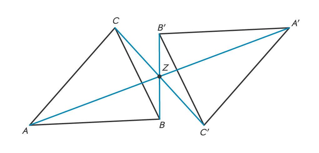 punktsymmetrische Dreiecke und Symmetriezentrum