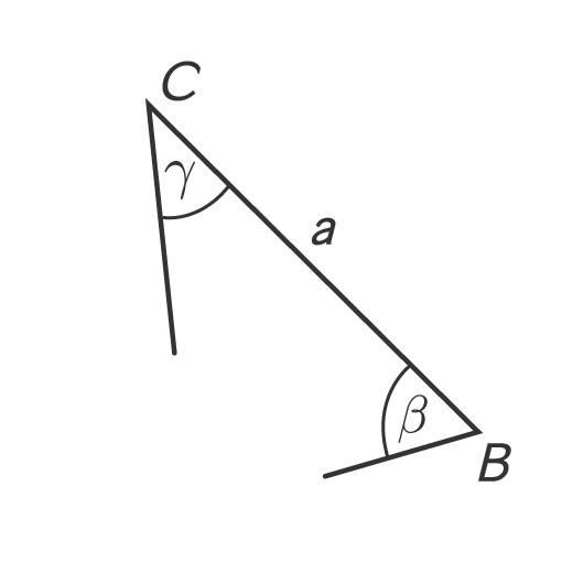 Strecke BC mit Schenkeln und Winkeln