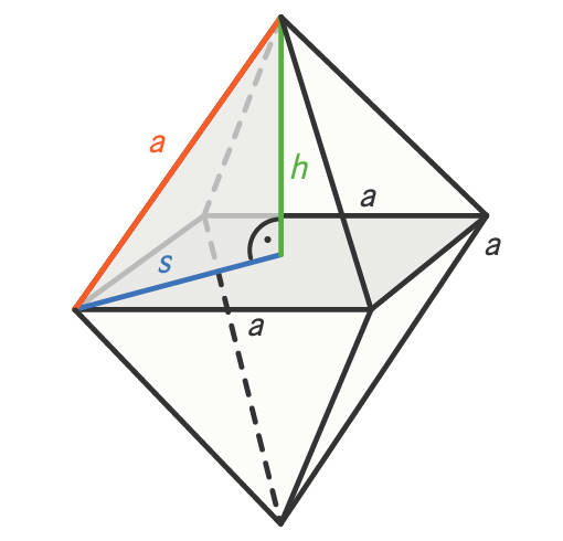 Oktaeder – Bestimmung der Pyramidenhöhe h