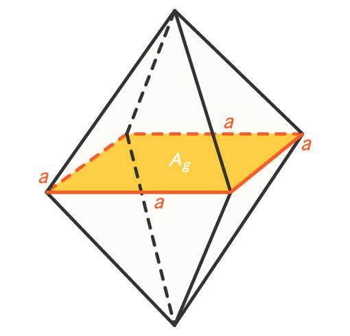 Oktaeder mit Seitenlänge a und Pyramidengrundfläche A