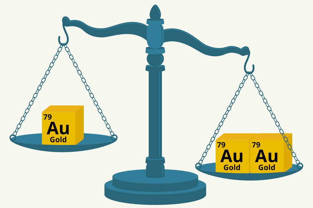 Veranschaulichung des Einflusses des Volumens auf die Masse eines Stoffes