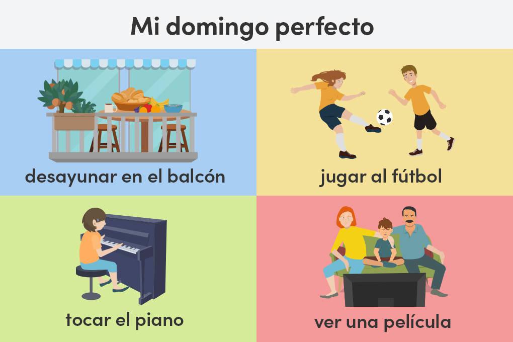 Tagesablauf am Wochenende: typische spanische Verben