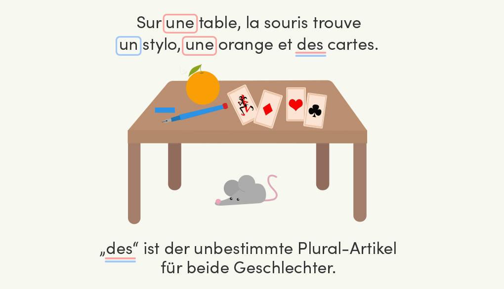 Franzoesische unbestimmte Artikel im Singular und Plural: un, une, des