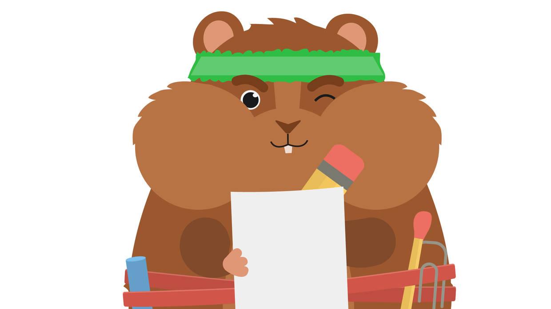 Rocky mit Zettel und Stift