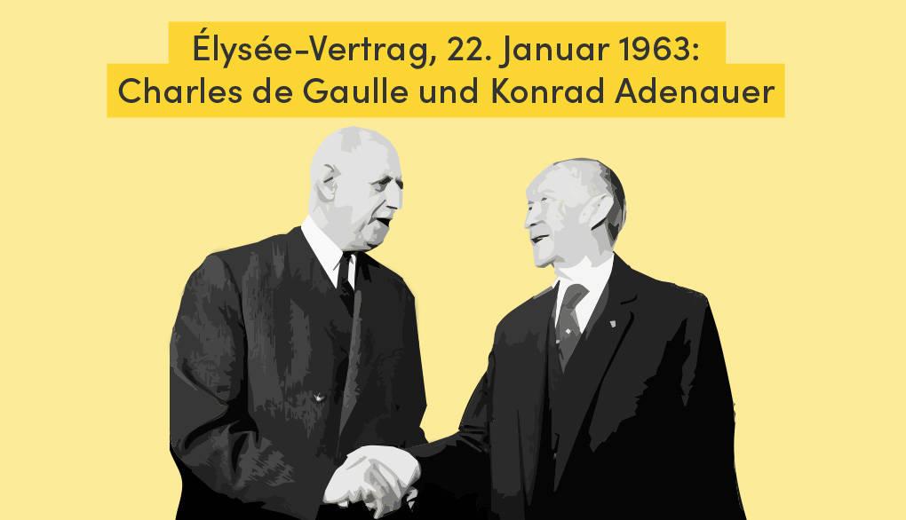 Élysée-Vertrag: Historischer Handschlag zwischen Charles de Gaulle und Konrad Adenauer