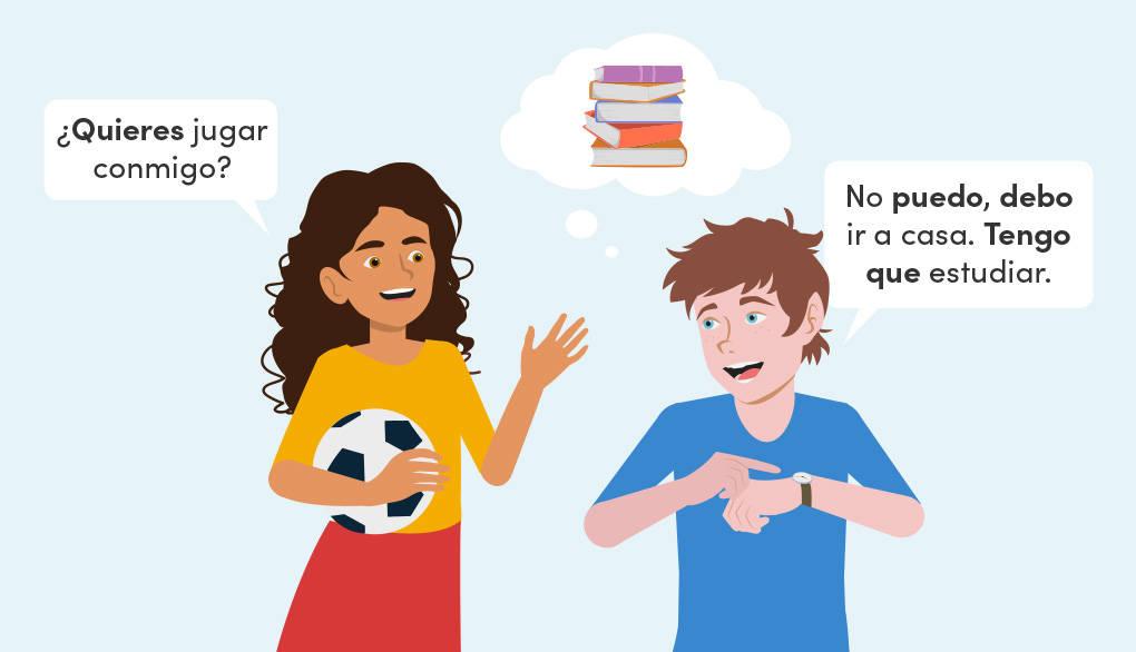 Verwendung der spanischen Modalverben querer, deber, tener que und poder: Beispielsaetze