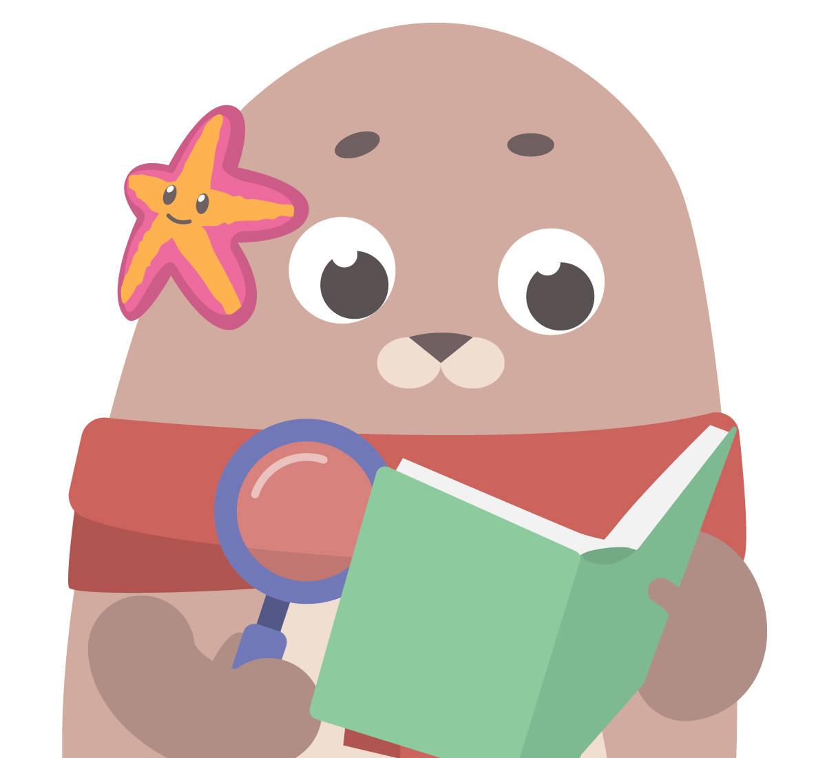 Ela liest in einem Buch