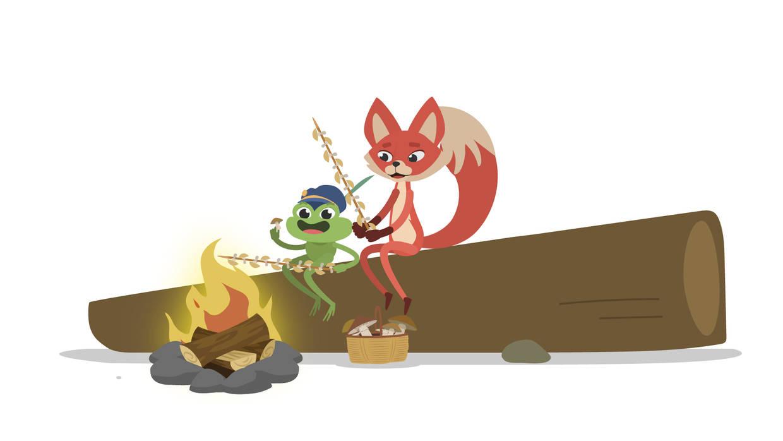 Tessa und Hubert braten Pilze über dem Feuer