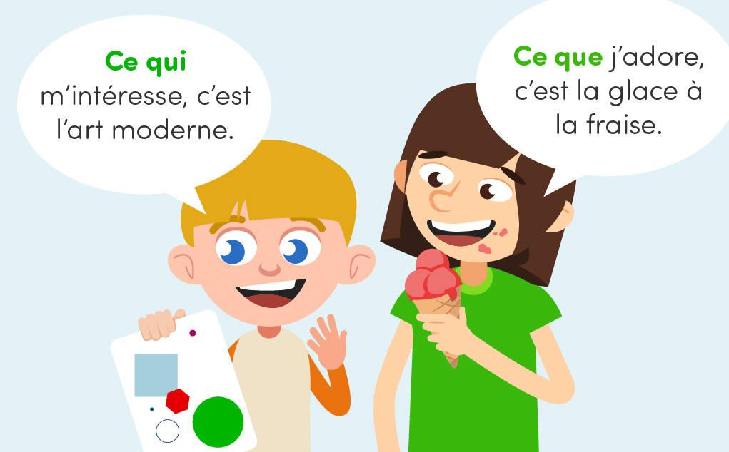 Unterschied zwischen den franzoesischen Relativpronomen ce qui und ce que: Beispiele