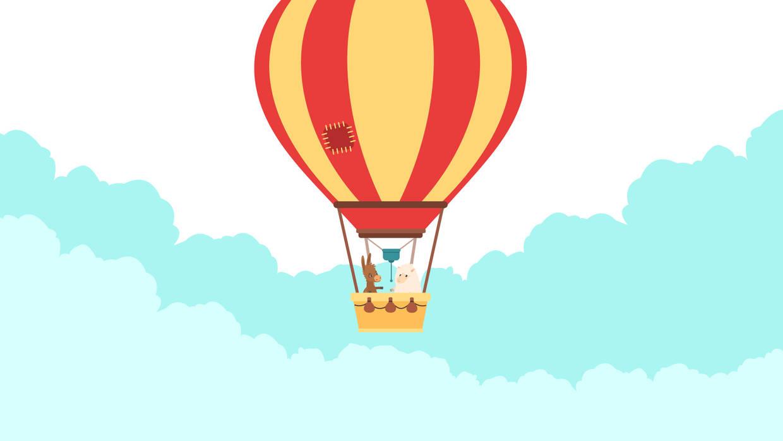 Paul und Momo im Heißluftballon