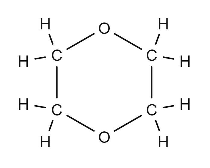 Strukturformel von Dioxan