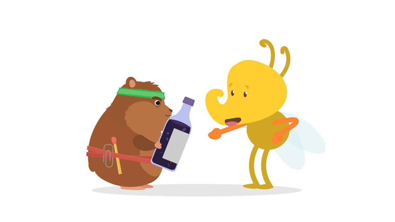 Rocky überreicht eine Flasche Traubensaft