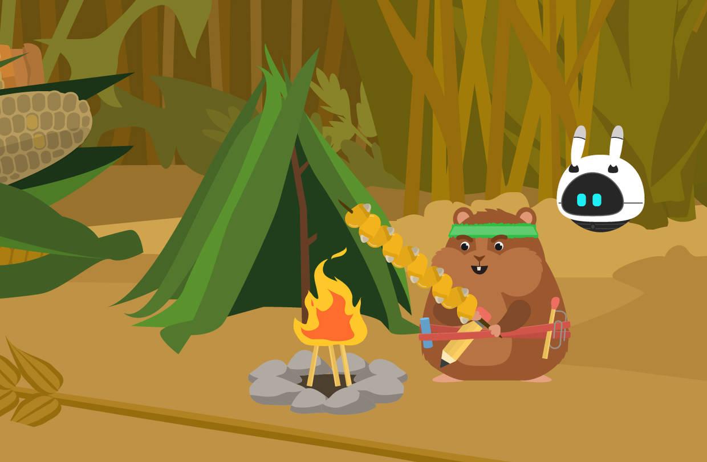 Rocky brät einen Maisspieß über dem Feuer
