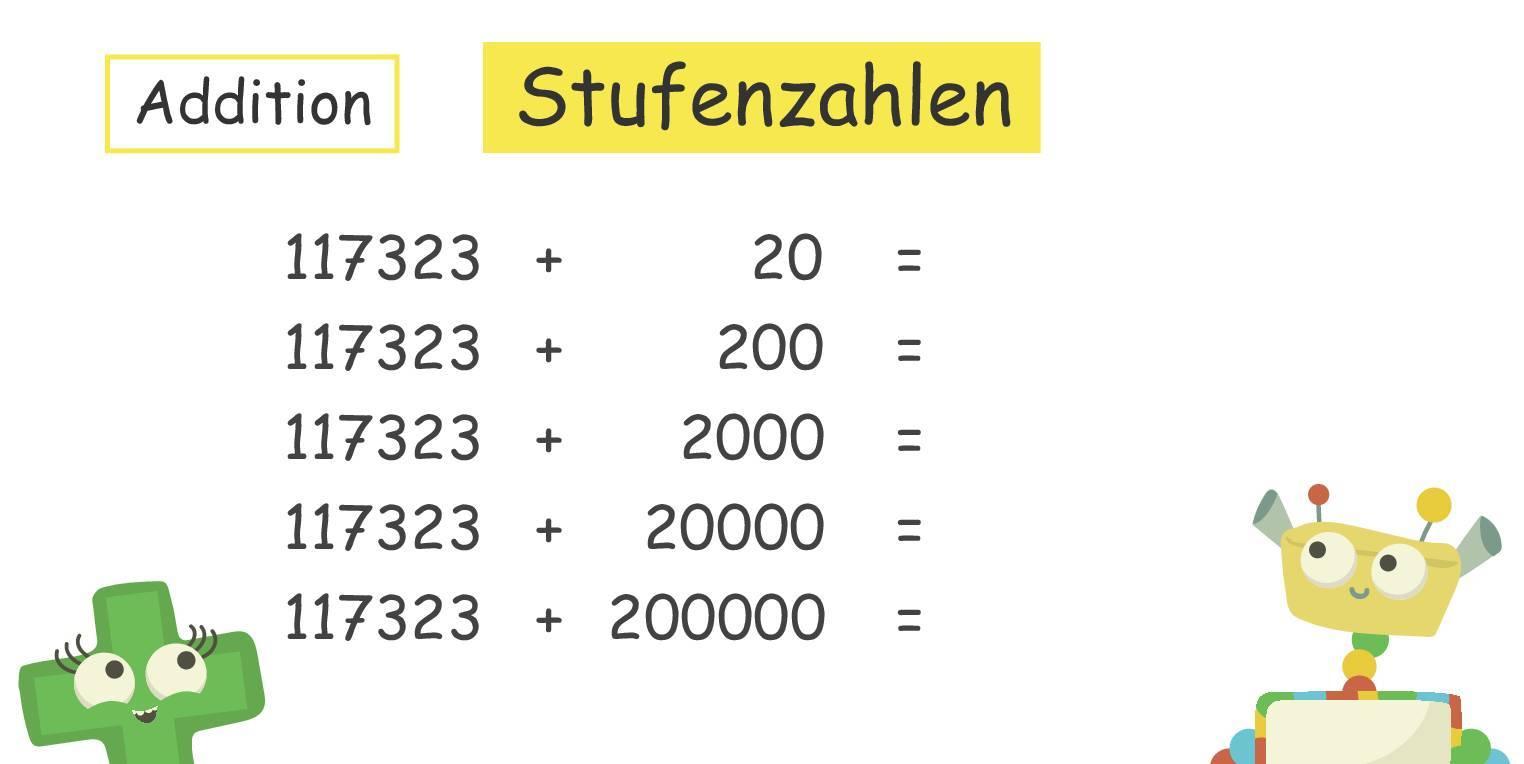 Addieren und Subtrahieren von Stufenzahlen (Übungen & Arbeitsblätter)