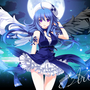 Konachan com 76674 arin blue hair hat moon pangya purple eyes wings