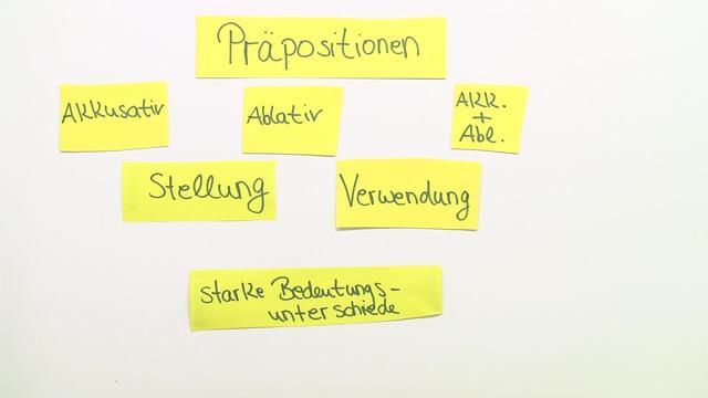 Präpositionen mit Akkusativ und Ablativ (Übungsvideo)