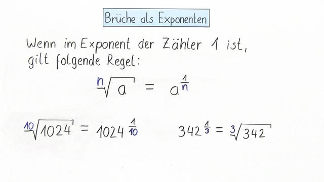 Brüche als Exponenten (1) – Mathematik online lernen