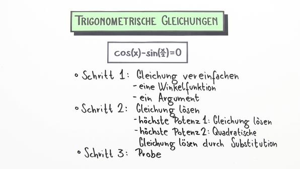 Gleichungen mit Sinus, Cosinus und Tangens online lernen