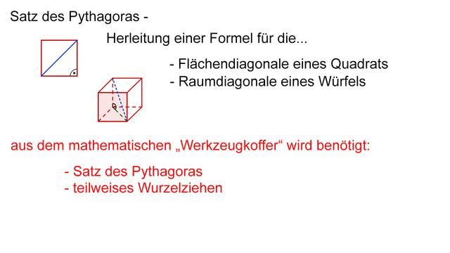 Satz des Pythagoras – Diagonalenlängen berechnen – Mathematik online ...