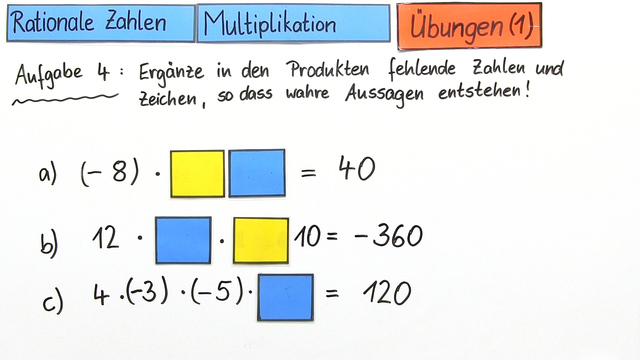 Rationale Zahlen – Multiplikation (Übungsvideo)