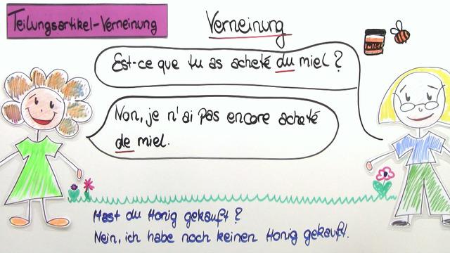"""Teilungsartikel mit """"de"""" – Verneinung"""