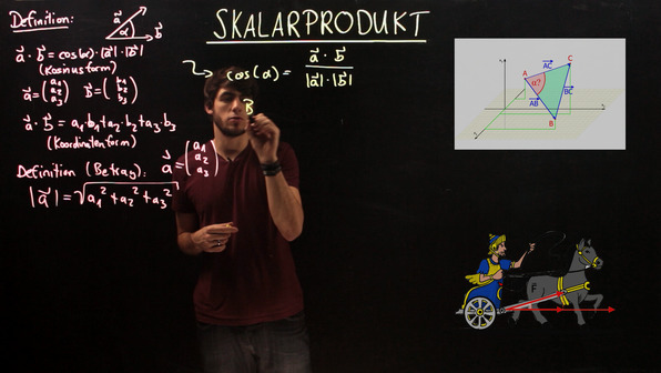 Skalarprodukt – Winkel zwischen zwei Vektoren