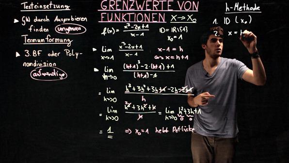 Grenzwerte von Funktionen für x → xₒ – h-Methode