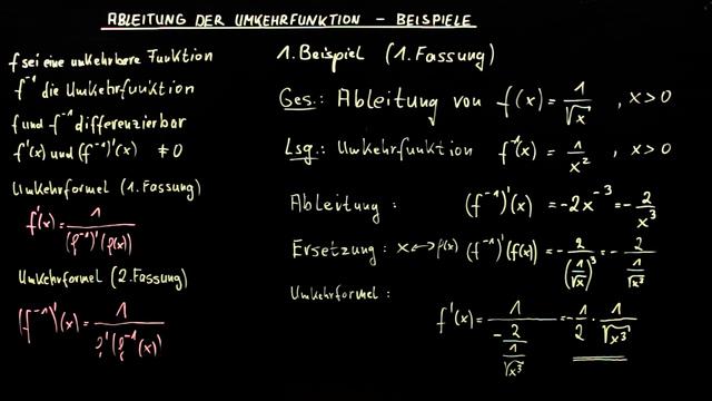 Ableitung der Umkehrfunktion – Beispiele