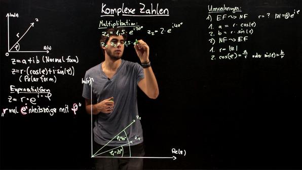 Komplexe Zahlen – Rechenbeispiele zur Polardarstellung und Exponentialform