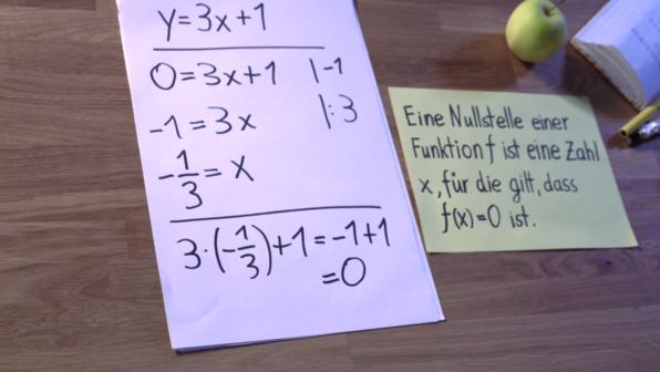 Lineare Funktionen - Nullstellen berechnen 1