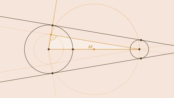 Äußere Tangenten an zwei Kreisen – Konstruktion