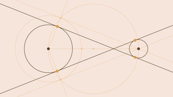 Innere Tangenten an zwei Kreise – Konstruktion