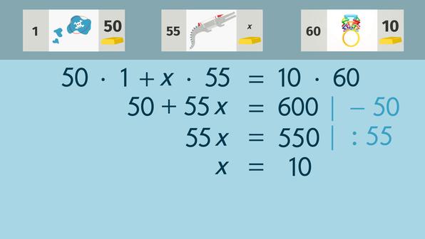 Gleichungen lösen – Anwendungsbeispiel