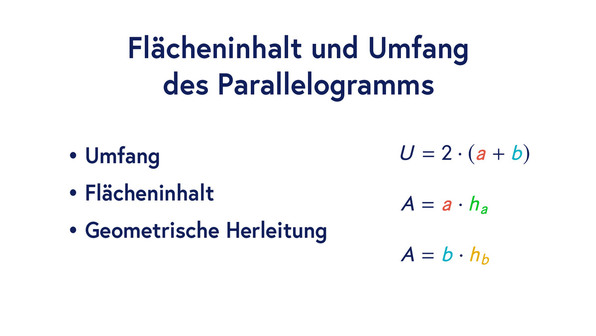 Flächeninhalt und Umfang des Parallelogramms