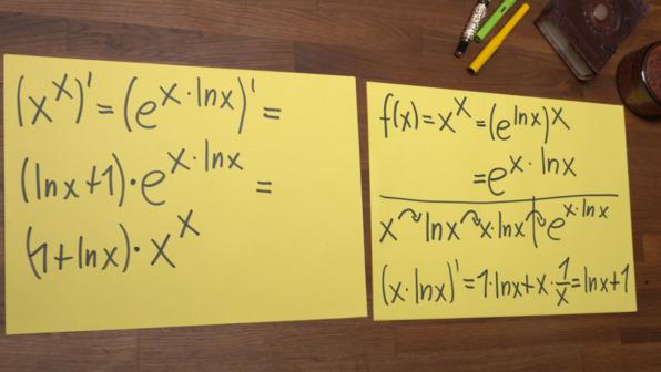 Ableitung von x hoch x