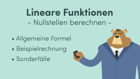 Lineare Funktionen – Nullstellen berechnen