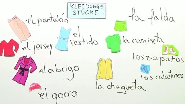 Farben, Kleidung und Körper auf Spanisch online lernen