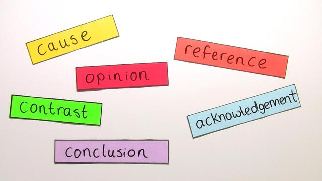 Linking Words: cause, reference, opinion, acknowledgement, contrast, conclusion