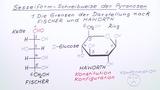 Sesselform-Schreibweise der Pyranosen
