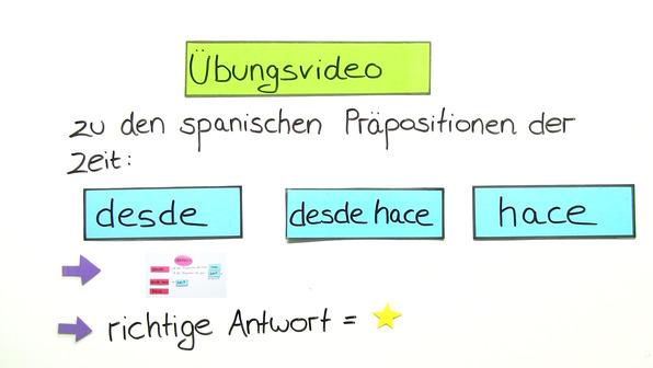 Die Präpositionen der Zeit: desde, desde hace und hace - Übungsvideo
