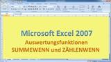 Lektion 24 Excel 2007 Auswertungsfunktionen