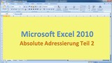 Lektion 10 Excel 2010 Absolute Adressierung Teil 2