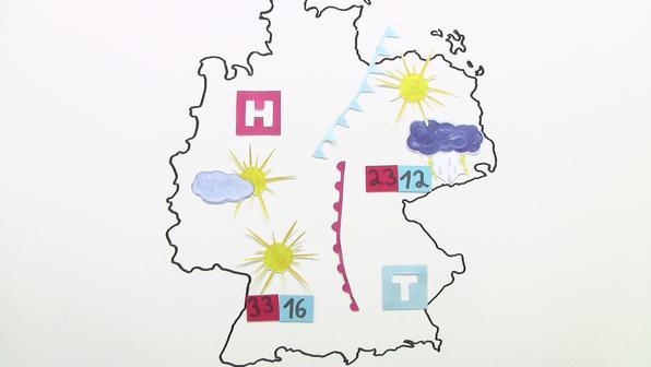 Meteorologische Zeichen und Wetterkarten